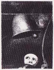 A funeral mask tolls bell