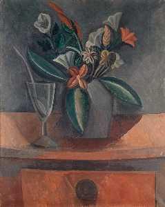 Flowers in a Grey Jar