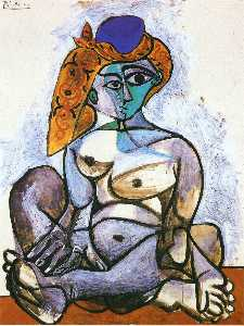 Nude woman with turkish bonnet