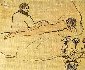 Nude with Picasso by her feet