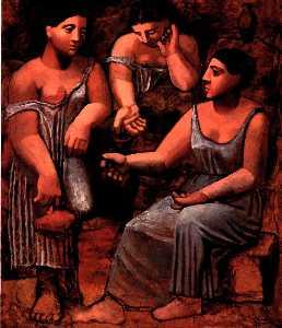 Three women at a fountain