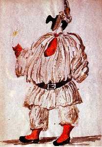 'Design of costume for ''Pulcinella'''