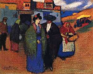 A spanish couple in front of inn