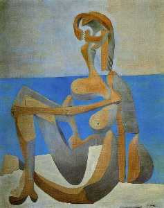 Seated bather on the beach