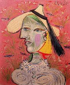 Woman with straw hat on flowery background