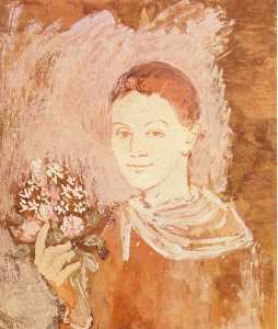 Boy with bouquet of flowers in his hand