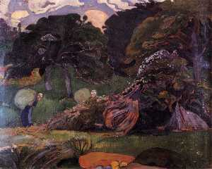 Brittany landscape with women carrying sack