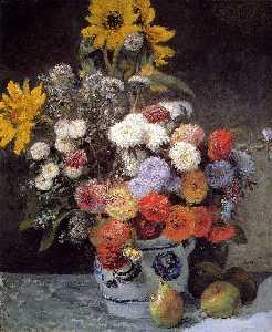 misto fiori in un Earthware Pentola