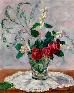 Still life with roses, jasmine and asparagus