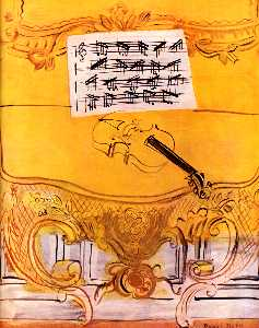 The Yellow Console with a Violin