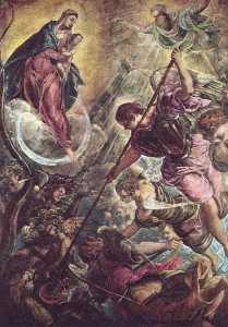 batalla de el  Arcángel  Miguel  asícomo  el  Satán
