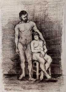 Standing Male and Seated Female Nudes