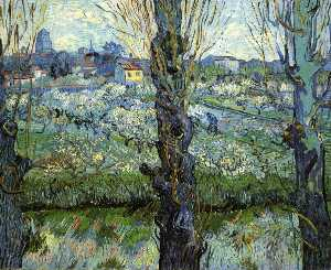 Orchard in Bloom with Poplars