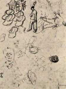 Sheet with Figures at a Table, a Sower, Clogs, etc