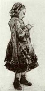 Girl Standing, Knitting