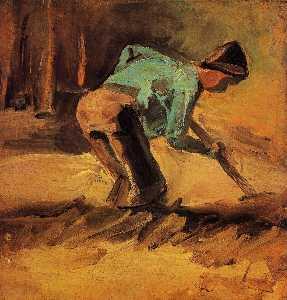男子 弯腰  与  棒  或  铲