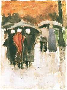 Scheveningen Women and Other People Under Umbrellas