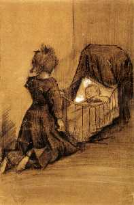 Girl Kneeling by a Cradle