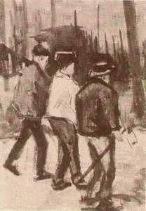 Three Woodcutters Walking