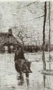 Woman with Wheelbarrow at Night