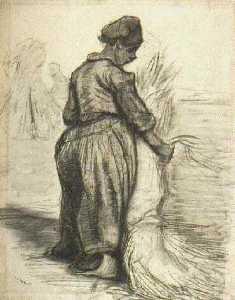 Peasant Woman, Binding a Sheaf of Grain