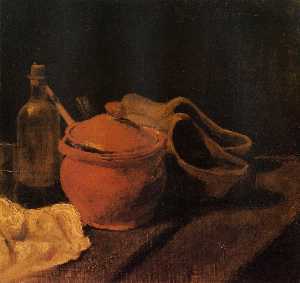 Still Life with Earthenware, Bottle and Clogs