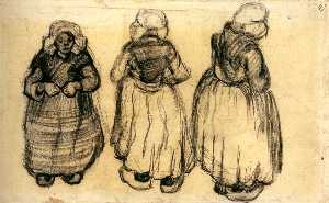 Three Studies of a Woman with a Shawl