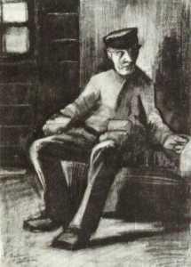 Blind Man Sitting in Interior