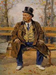 Portrait of a man sitting on a park bench