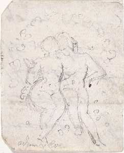 Sketch for Satan Watching the Endearments of Adam and Eve