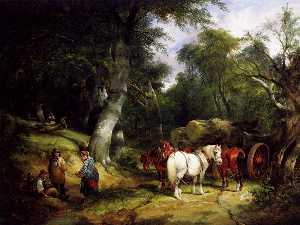 Carting Timber In The New Forest