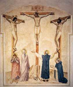 crucifixion avec pleureuses et sts dominic et thomas Thomas d'aquin ( Cellule 37 )