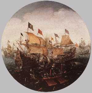Sea Battle between Dutch and Spanish Boats