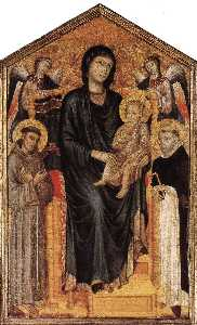 Madonna Enthroned with the Child, St Francis, St. Domenico and two Angels