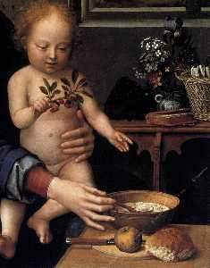 Virgin and Child with the Milk Soup (detail)