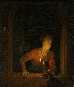 Girl with Burning Oil Lamp