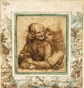 A Young Man Caresses an Old Woman