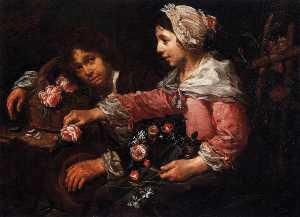 Girl Binding a Wreath of Flowers