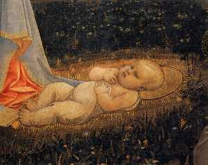 Adoration of the Child with Saints (detail)