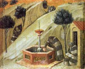 Predella panel: Hermits at the Fountain of Elijah