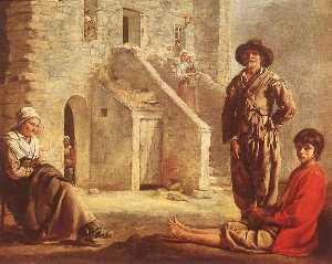 Peasants at their Cottage Door