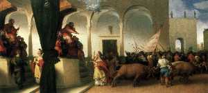 St Lucy before Paschasius and St Lucy Harnessed to Oxen