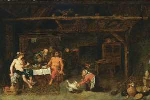 Philemon and Baucis Giving Hospitality to Jupiter and Mercury