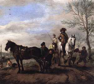 A Man and a Woman on Horseback (detail)