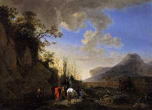 Coastal Scene with Resting Riders