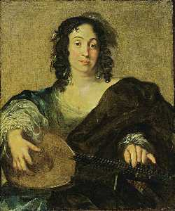 A Young Woman Tuning a Lute