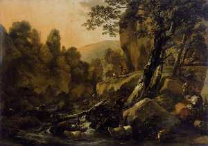 Herdsmen and Herds at a Waterfall
