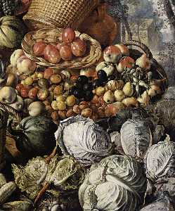 Market Woman with Fruit, Vegetables and Poultry (detail)