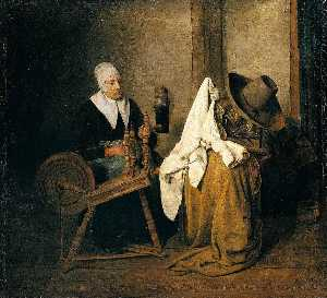 Interior with an Old Woman at a Spinning Wheel