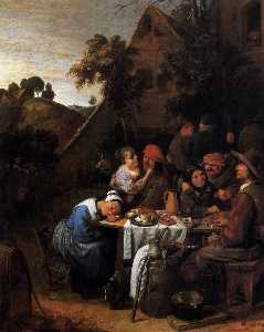Peasants in front of a Village Inn